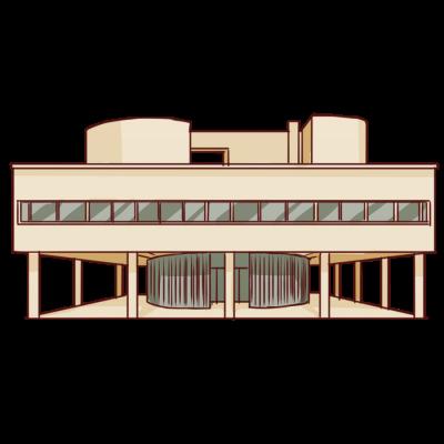 モダニズム建築家ル・コルビュジエによる名建築。フランス、パリ郊外のポワシーに建てられた。