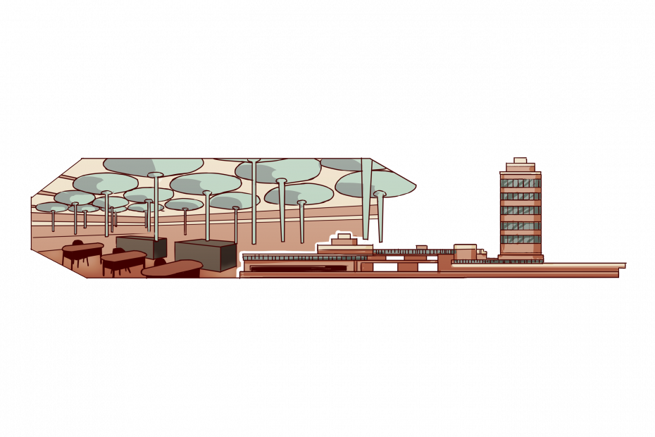 フランク・ロイド・ライト設計のジョンソン・ワックス、アメリカ本社ビル。