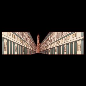 イタリア、フィレンツェに建てられた。ピッティ宮殿、ウフィッツィ美術館。