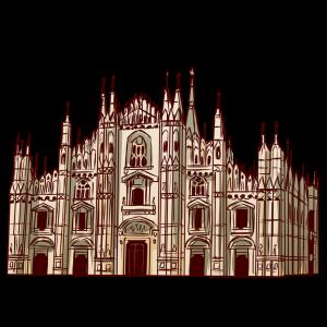 イタリア、ミラノのドゥオーモ(教会堂)。ゴシック様式の教会。