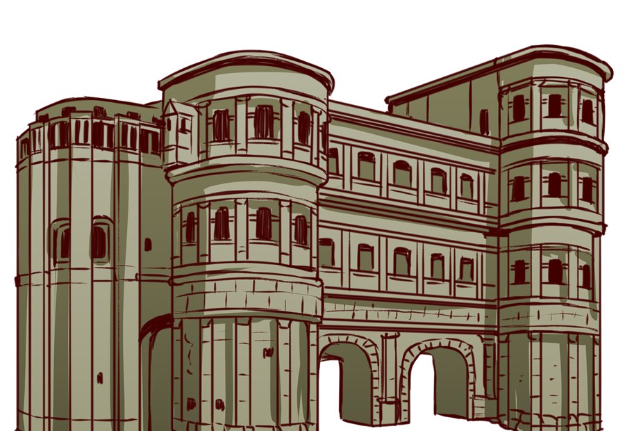 ドイツ、トリーアにある古代ローマ時代の建築物。世界遺産。黒い門。