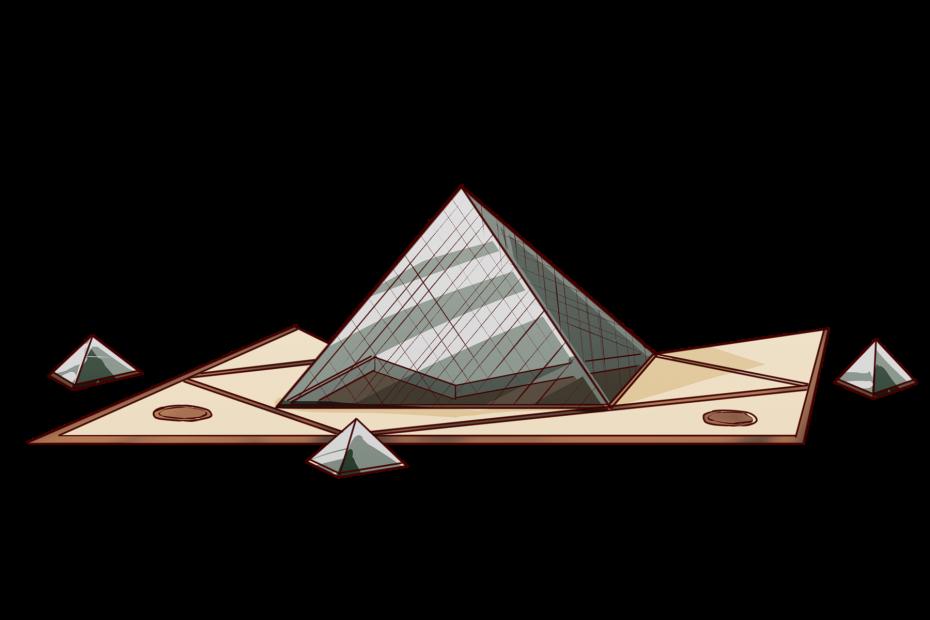 パリのルーヴル美術館の中庭、ナポレオン広場にあるガラスのピラミッド。世界遺産。