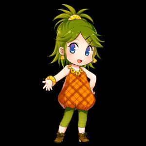 パイナップルを擬人化したキャラクター素材
