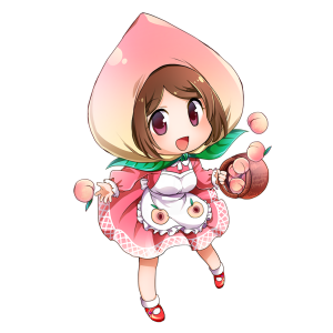 桃を擬人化したキャラクター素材