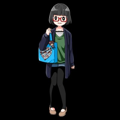 アニメキャラのグッズ、缶バッチをトートバッグにつけた女性。
