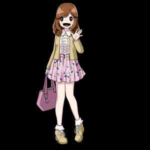 フリルのついた服のゆるふわ女子大学生。