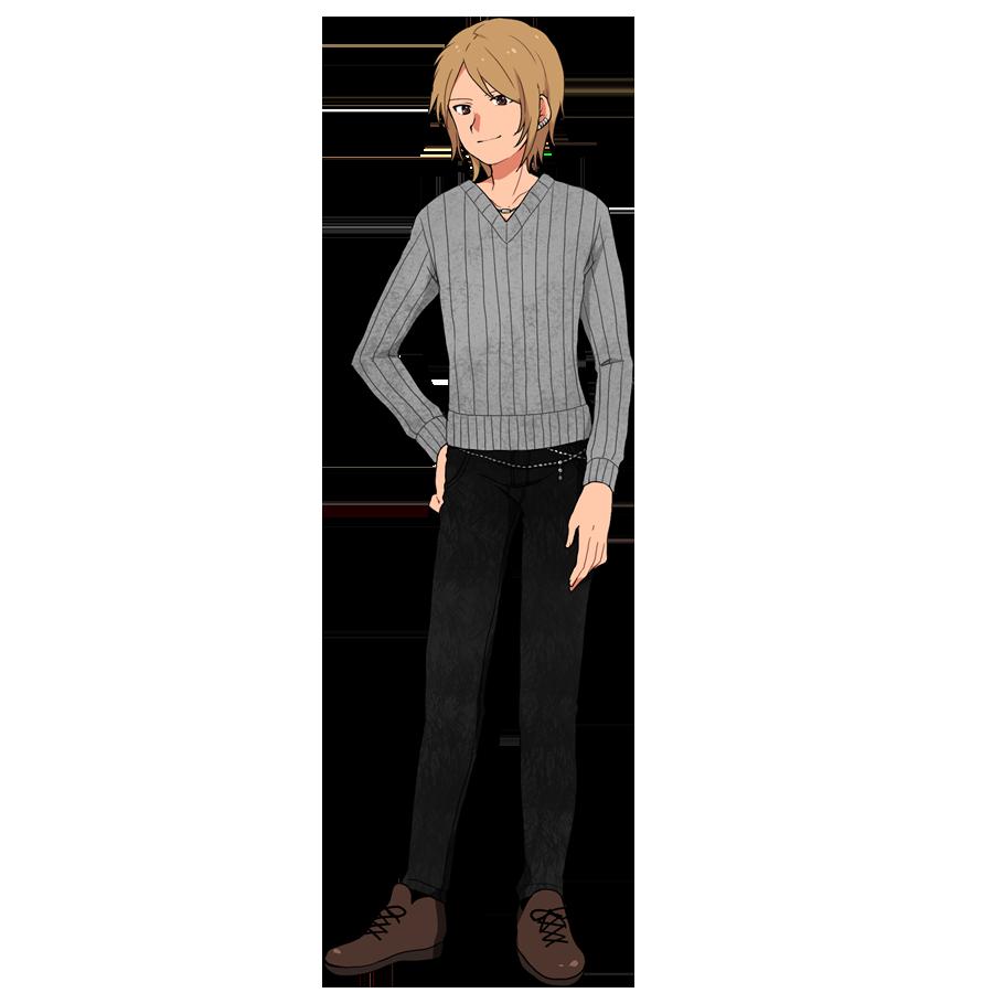 ∨ネックのセーター、スリムジーンズ、革靴の男性。