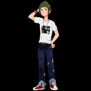 Tシャツ、ダメージジーンズ、スニーカーの男性。