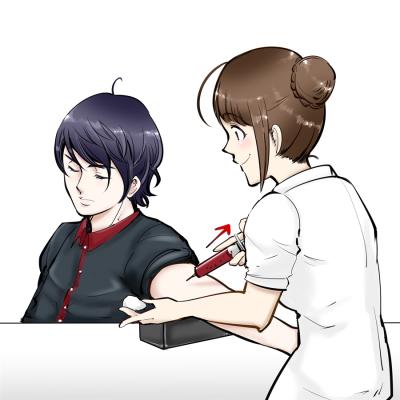 看護婦さんが注射で採血。患者。医療行為。