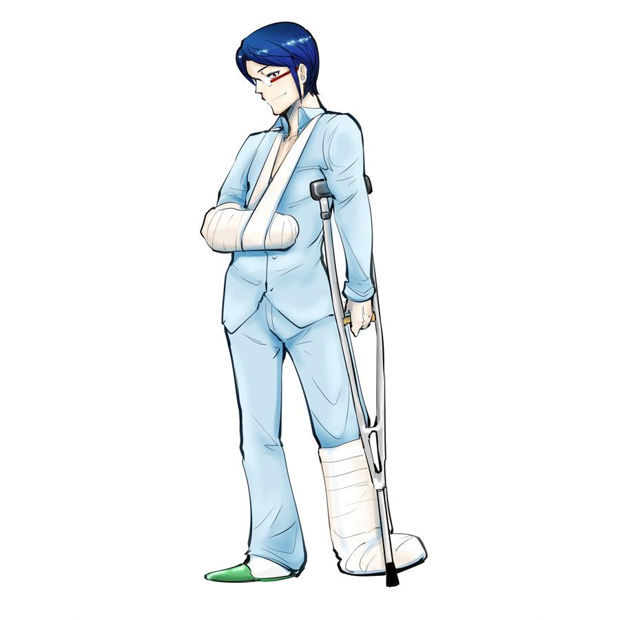 骨折し松葉杖とギブス姿の男性。ケガ。医療行為