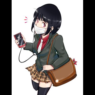 マスクをしている女子。風邪、花粉、スマートフォン