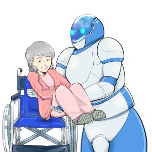 車椅子に女性を乗せる介護ロボット。シニア時代。