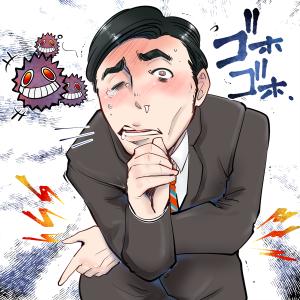 インフルエンザにかかってしまった男性。咳、ウイルス。
