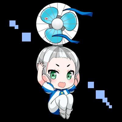 扇風機を擬人化したキャラクター素材