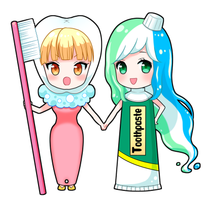 歯ブラシ・歯磨き粉を擬人化したキャラクター素材