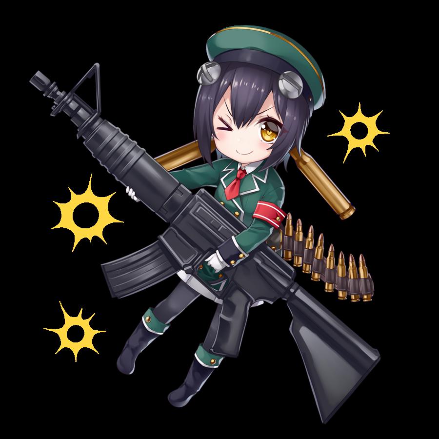 銃2を擬人化したキャラクター素材