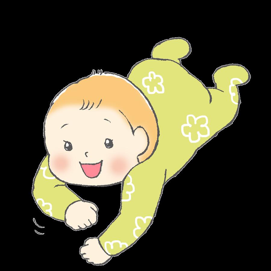 赤ちゃん、育児、新生児服、ずりばい