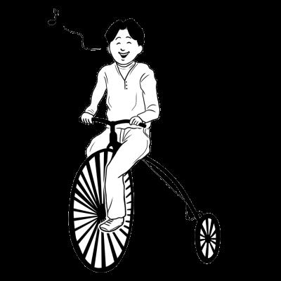 自転車、行楽、音符