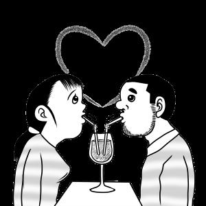 恋愛、恋人、ストロー、飲み物