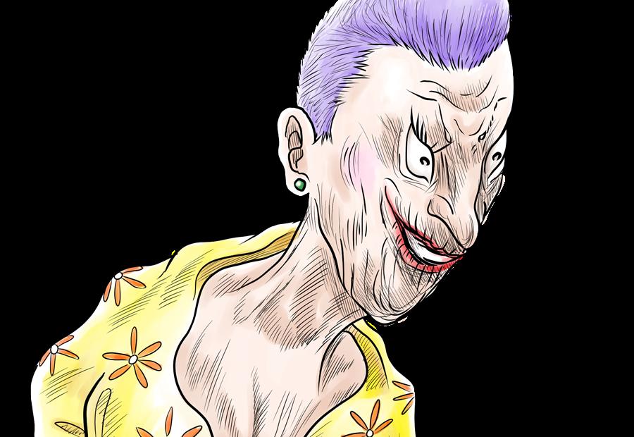 紫、老人、イヤリング