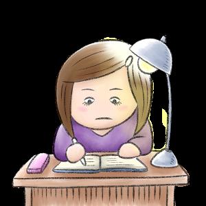 女の子、勉強、一生懸命